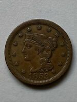 1853 BRAIDED HAIR LARGE CENT XF