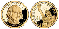 2007 S GEM PROOF JAMES MADSION PRESIDENTIAL DOLLAR UNCIRCULATED DCAM COIN PF