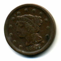 1848 PENNY US BRAIDED HAIR CENT LARGE US  LOW MINTAGE KEY DATE COIN535