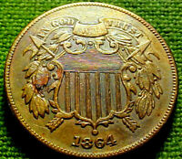 1864 TWO CENT PIECE 2C  HIGH GRADE  TONED COIN W/ SOLID DETAILS  62PS