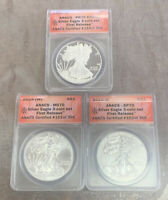 2016 W ANACS SP70, MS70, PR70 DCAM SILVER EAGLE 3 COIN SET FIRST RELEASE 153/269