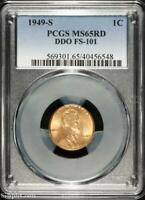 1949-S DDO FS-101 LINCOLN WHEAT CENT  PCGS MINT STATE 65 RD RED  B5-6548