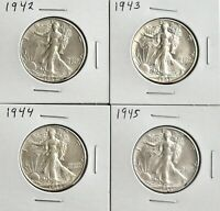 WALKING LIBERTY HALF DOLLAR SET OF 4 AU COINS 1942   1945