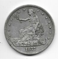 1877 SILVER US TRADE DOLLAR EXTRA FINE CONDITION SOME DINGS