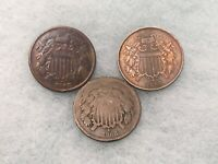 3 PC LOT US TWO CENT 2C COINS BETTER TYPE NICE GRADE 1867 18