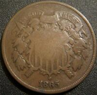1865 TWO CENT PIECE   PARTIAL MOTTO STILL SHOWS ON RIBBON  I