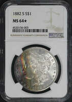 1882-S MORGAN DOLLAR NGC MINT STATE 64 TWO-SIDED RAINBOW