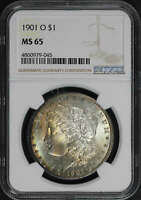 1901-O MORGAN DOLLAR NGC MINT STATE 65 PASTEL RAINBOW TONING