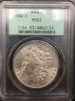 1884 O $1 MORGAN PCGS MINT STATE 63 OLD GREEN HOLDER OGH 134