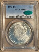 1892-CC PCGS & CAC MINT STATE 63 MORGAN SILVER DOLLAR $1 - CARSON CITY MINT