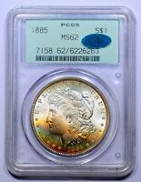 1885 MORGAN DOLLAR - PCGS - MINT STATE 62 - OGH -  RAINBOW TONED  - CAC APPROVED