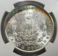 1888 SILVER MORGAN DOLLAR NGC MINT STATE 64 LINCOLN HIGHWAY HOARD CRESCENT TONED TONING