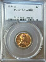 1954-S LINCOLN CENT WHEAT CENT PCGS MINT STATE 66 RD