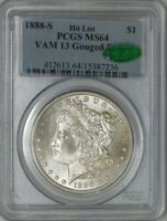 1888-S MORGAN DOLLAR $ VAM-13 GOUGED EAGLE HIT LIST MINT STATE 64 PCGS CAC 943560-48