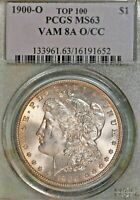 1900-O/CC MORGAN $1 PCGS MINT STATE 63 VAM 8A O STAMPED OVER CC MINTMARK  GREAT LUSTER