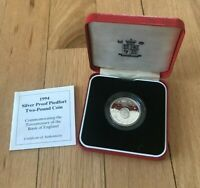 1994 GREAT BRITAIN 2 POUND SILVER PROOF PIEDFORT   BANK OF ENGLAND   BOX AND COA