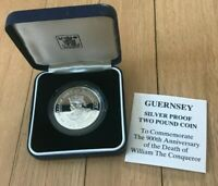 1987 GUERNSEY 2 POUNDS SILVER PROOF   WILLIAM DUKE OF NORMANDY