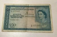 1957 CYPRUS 250 MILS   WORLD BANKNOTE CURRENCY