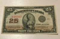 1923 DOMINION OF CANADA 25 CENTS   SMALL WORLD BANKNOTE CURRENCY