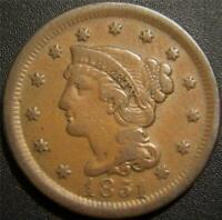 1851 LARGE CENT   LIBERTY IS READABLE.  SOME HAIR AND LEAF D