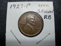 1927-P LINCOLN CENT, BROWN, BU UNC