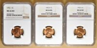 1952 PD&S LINCOLN WHEAT PENNIES NGC MINT STATE 66RD
