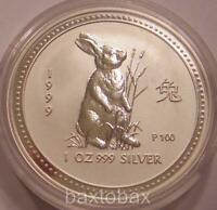 1999 AUSTRALIAN LUNAR YEAR OF THE RABBIT 1 OZ  SILVER COIN