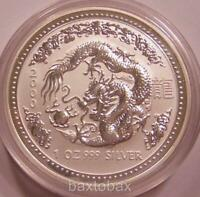 2000 AUSTRALIAN LUNAR YEAR OF THE DRAGON  1 OZ.  SILVER COIN