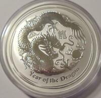 2012 AUSTRALIAN LUNAR YEAR OF THE DRAGON  2 OZ. .999 SILVER