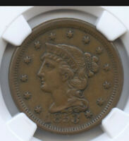 BRAIDED HAIR LARGE CENT- 1853- AU 55- NGC GRADED