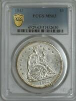 1843 SEATED LIBERTY DOLLAR $ MINT STATE 63 PCGS SECURE 943159-2