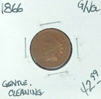 1866 INDIAN HEAD CENT  GOOD/VG GENTLE CLEANING  COIN