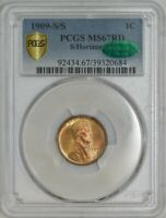1909-S/S LINCOLN CENT 1C MINT STATE 67RD PCGS SECURE, CAC 942253-2  NONE FINER