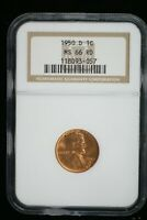 1950 D LINCOLN WHEAT CENT NGC  MINT STATE 66 RD   M-2142