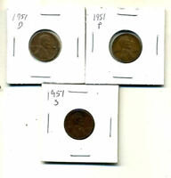 1951 P,D,S WHEAT PENNIES LINCOLN CENTS CIRCULATED 2X2 FLIPS 3 COIN PDS SET4052