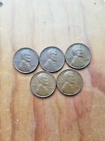 5 LINCOLN WHEAT PENNIES 1950, 1951,1952, 1953, 1955 SHIPPED PLAIN WHITE ENVELOPE