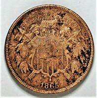 1865 2 CENT PIECE - FULL MOTTO/CLEANED