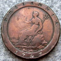 GREAT BRITAIN GEORGE III 1797 ONE PENNY CARTWHEEL, COPPER SCRATCHES ON OBVERSE