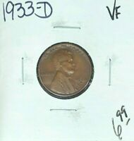 1933-D LINCOLN WHEAT CENT  VF  COIN