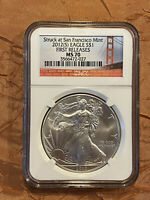 2012 S SILVER EAGLE NGC MS70 FIRST RELEASES BRIDGE SAN FRANCISCO MINT