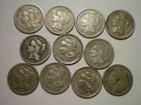 1865 TO 1881 THREE CENT NICKEL LOT / 11 COINS