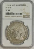1796 DRAPED BUST DOLLAR $ BB-65, B-5 LG DATE, SMALL LETTERS EXTRA FINE 45 NGC 943503-1