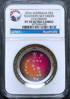 2014 AUSTRALIA SOUTHERN SKY ORION 1OZ PROOF COLORED SILVER D