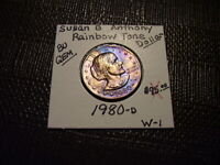 RAINBOW TONE GOLD & PURPLE COLORS 1980 D SUSAN B. ANTHONY DO