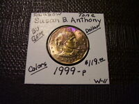 RAINBOW TONE GOLD & PURPLE COLORS 1999 P SUSAN B. ANTHONY DO