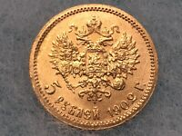 1902 RUSSIA 5 ROUBLES GOLD COIN NICHOLAS II GEM BU HIGHER GR