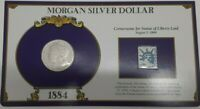 1884 MORGAN SILVER DOLLAR W/STAMP IN HOLDER - CORNERSTONE FOR STATUE OF LIBERTY