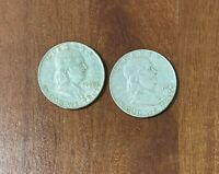 $1 FACE VALUE LOT US 90  SILVER TWO  2  FRANKLIN HALF DOLLAR