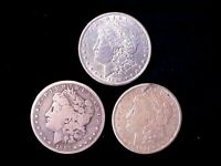 3 DIFFERENT MORGAN SILVER DOLLARS 1882-S, 1889, & 1921-S SHIPPED FREE IN ONE DAY