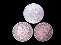 3 DIFFERENT MORGAN SILVER DOLLARS 1882, 1889, & 1900-O SHIPPED FREE IN ONE DAY